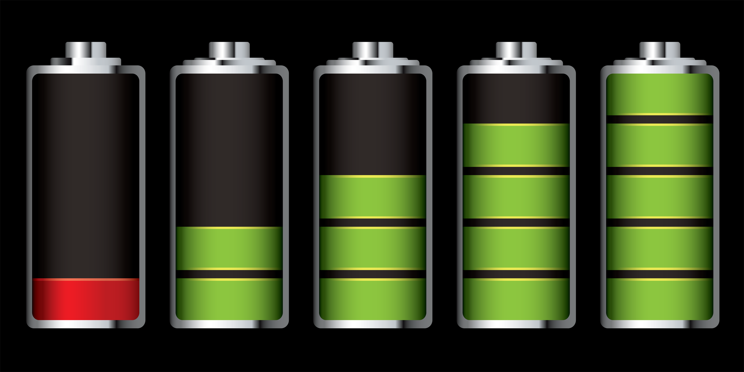 Colorful Batteries Icons And Symbols Of Battery Level Royalty Free ...