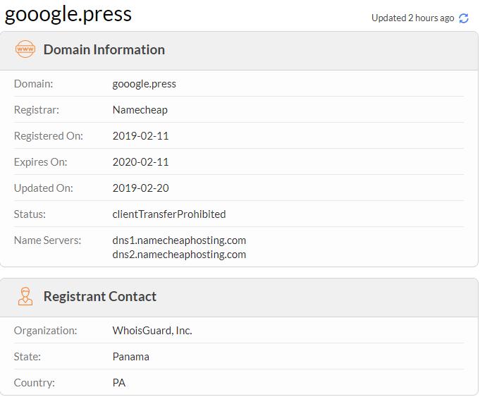 Figure 7. gooogle[.]press registration info