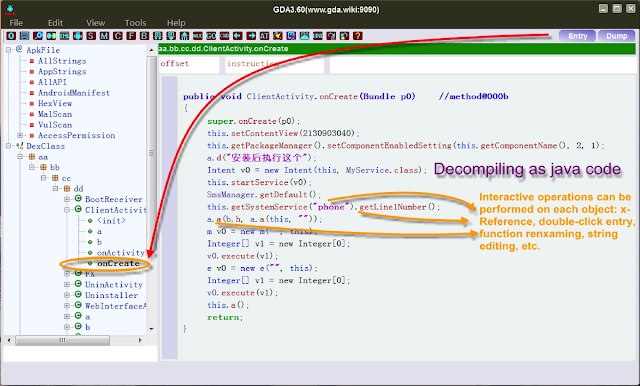 GDA android reversing Tool 1 3 entry x ref