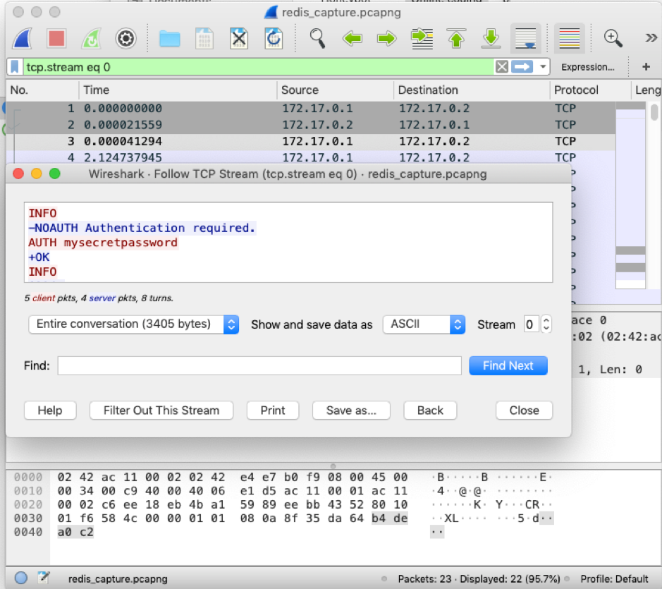 Figure 3. An example of network traffic capture when TLS encryption is not enabled