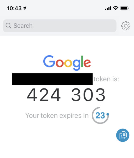 2FA token generated by Authy