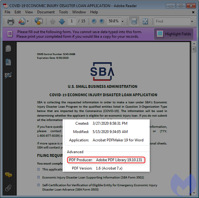 official SBA pdf metadata
