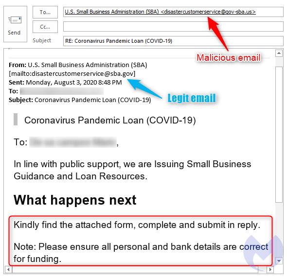 malwarebytes fake sba scam email