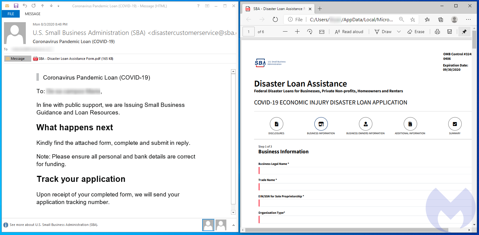 advanced US SBA phishing attempt