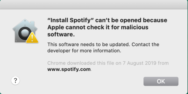 The message displayed by Catalina for older versions of Spotify