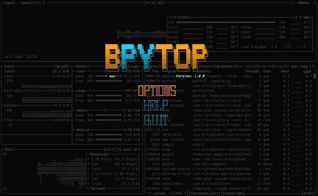 bpytop 13 menu