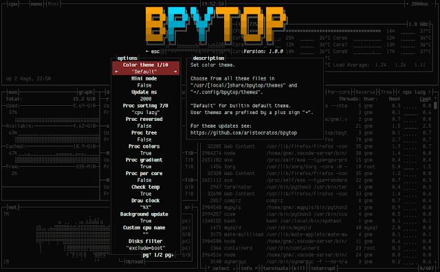 bpytop 14 options