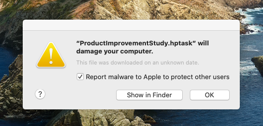 """ProductImprovementStudy.hptask"" will damage your computer"