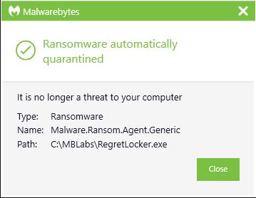 RegretLocker quarantined
