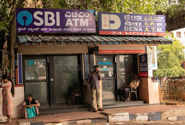 bangalore india june people sitting infront sbi atm dena bank s railway station 149955579