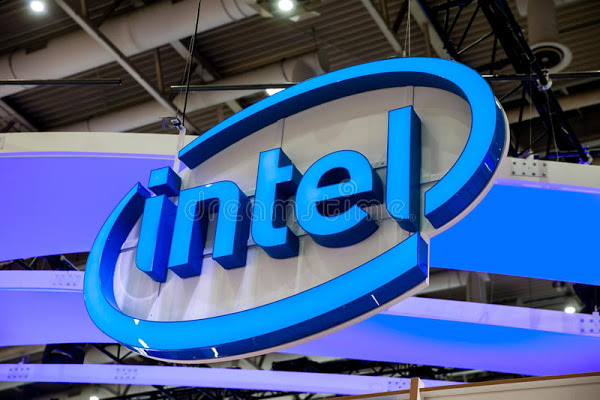 intel company logo exhibition fair cebit hannover messe germany march 92135227