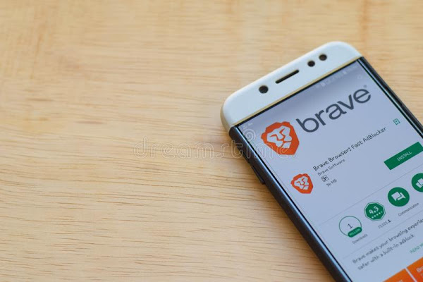 bekasi west java indonesia june brave browser fast adblocker dev application smartphone screen fast adblocker bekasi west 149548033