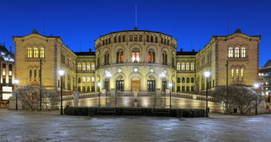norway parliament building oslo night storting seat 85198340