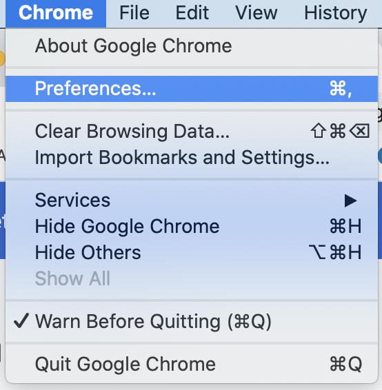 Chrome settings 1
