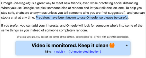 Warning from Omegle home page