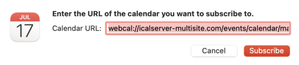 macOS alert asking the user to consent to subscribe to a calendar