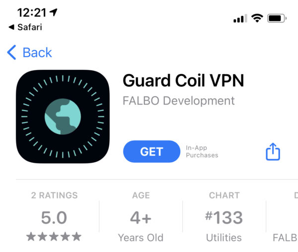 App Store page for Guard Coil VPN