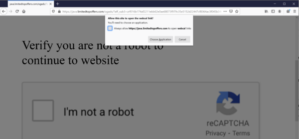 Windows alert asking the user to choose an app to open a webcal link with