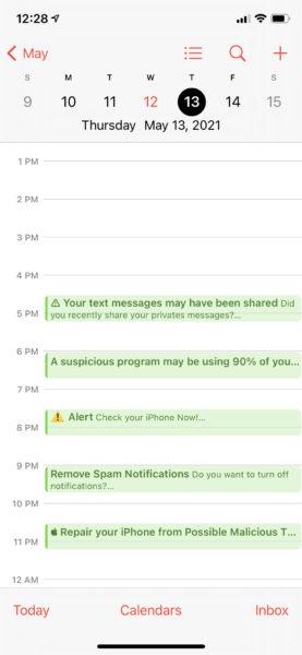 iOS Calendar app showing spam events