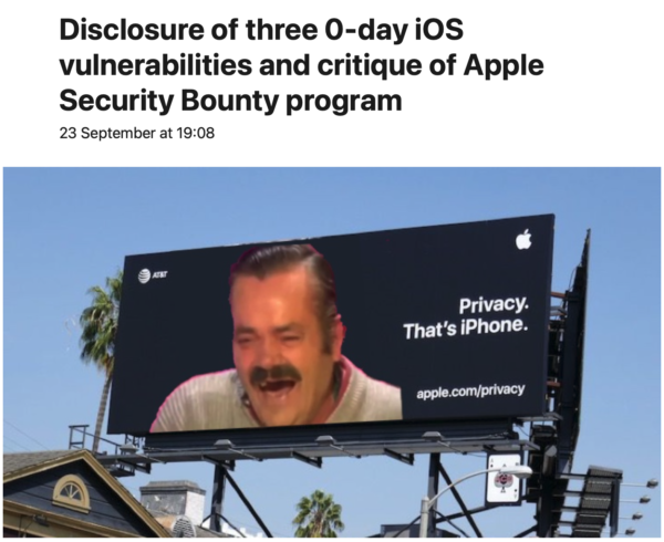 Disclosure of three 0-day iOS vulnerabilities and critique of Apple Security Bounty program