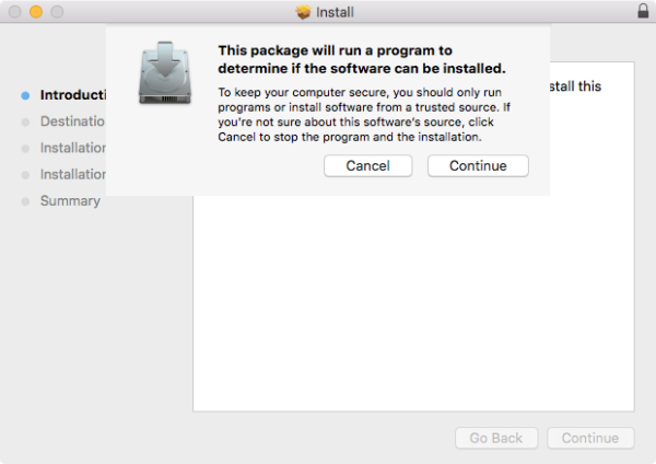 An Apple installer asking the user to allow a program to run to determine if the software can be installed.